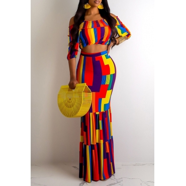 Lovely Casual Printed Multicolor Two-piece Skirt Set