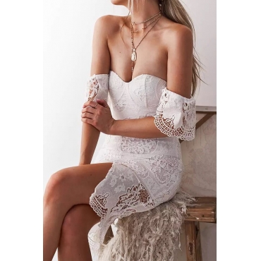 Lovely Sexy Off The Shoulder Lace Trim Patchwork White Knee Length Prom Dress