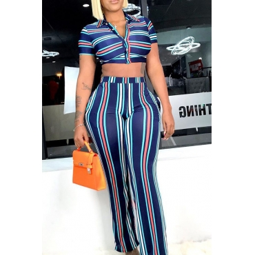Lovely Casual High Waist Striped Two-piece Pants Set
