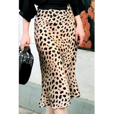 Lovely Stylish Leopard Printed Knee Length A Line Skirt