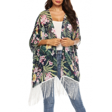 Lovely Casual Printed Tassel Design Deep Green Chiffon Cover-up