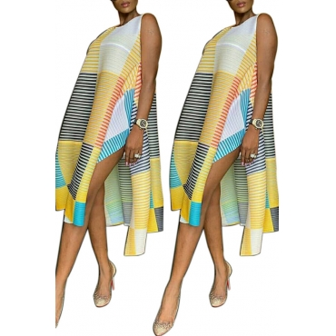 Lovely Casual O Neck Striped Printed Side Split Yellow Knee Length Dress