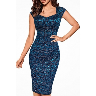 Lovely Stylish V Neck Printed Blue Knee Length Prom Dress