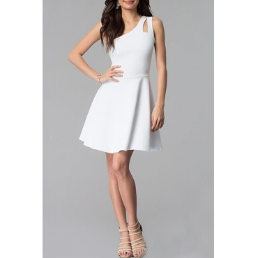 Lovely Stylish One Shoulder Hollow-out White Mini A Line Prom Dress