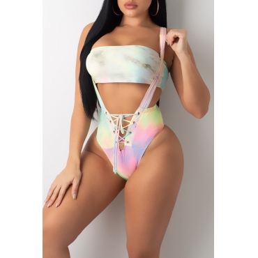 Lovely Tie-dye Printed Lace-up Multicolor Two-piece Swimwear