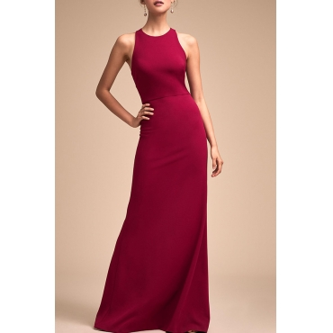 Lovely Elegant O Neck Hollow-out Wine Red Floor Length Prom Dress