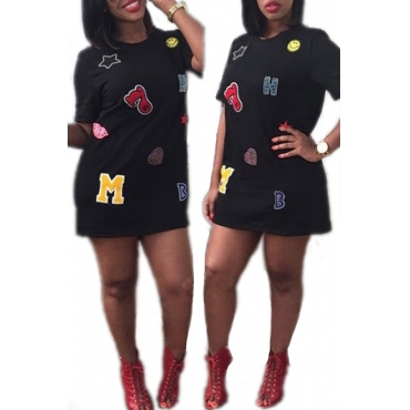 Lovely Casual O Neck Letter Printed Patchwork Black Mini Dress
