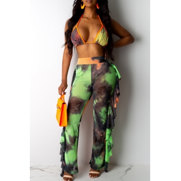 Lovely Printed Ruffle Design Army Green Two-piece Swimwear