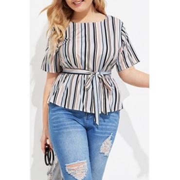 Lovely Stylish O Neck Striped Grey Plus Size Blouse