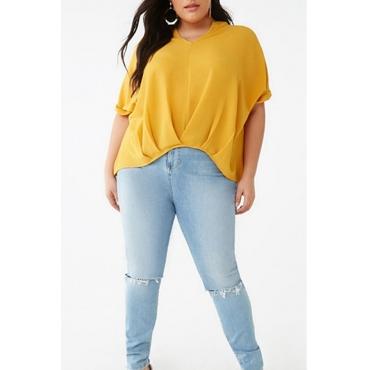 Lovely Casual Drape Design Yellow Plus Size Blouse