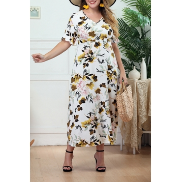 Lovely Bohemian V Neck Printed White Mid Calf A Line Plus Size Dress