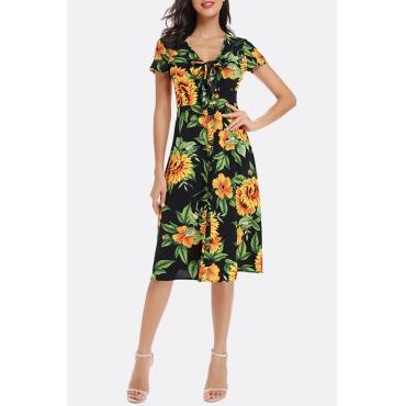 Lovely Casual V Neck Printed Black Knee Length Dress