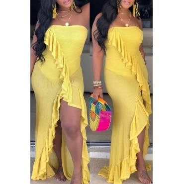 Lovely Sexy Off The Shoulder Ruffle Asymmetrical Yellow Floor Length Dress
