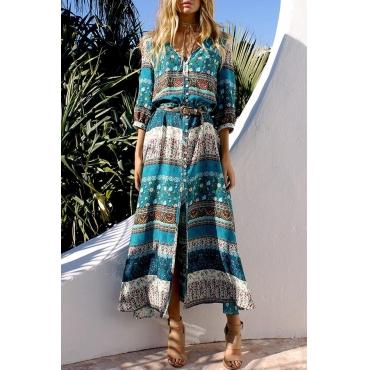 Lovely Bohemian V Neck Printed Green Ankle Length Dress