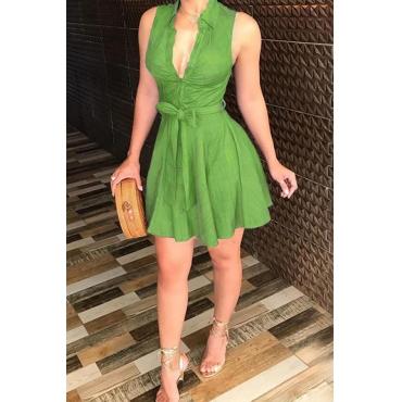 Lovely Stylish Turndown Collar Drape Lace-up Green Mini A Line Dress