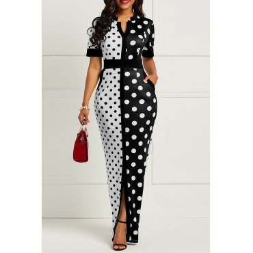 Lovely Casual Dot Printed Patchwork Black Floor Length OL Dress(Nonelastic)