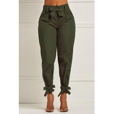 Lovely Stylish High Waist Bow-tie Decoration Green Pants