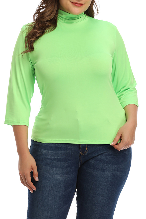 Lovely Casual Turtleneck Green Plus Size Blouse