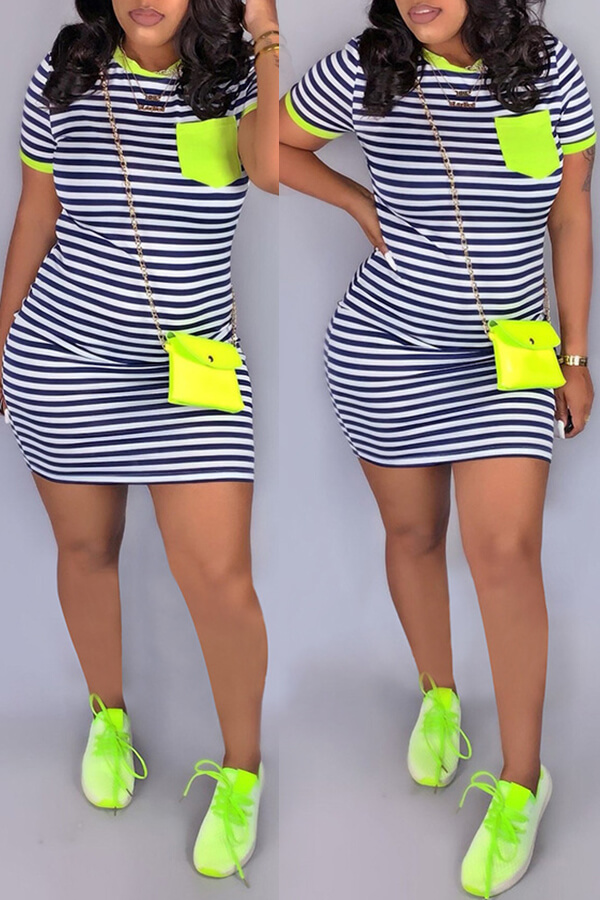 Lovely Casual O Neck Striped Patchwork Green Mini Dress