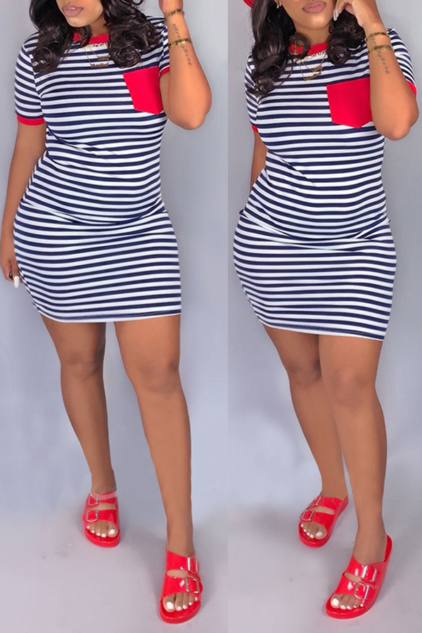 Daily Dress Lovely Casual O Neck Striped Patchwork Red Mini Dress фото