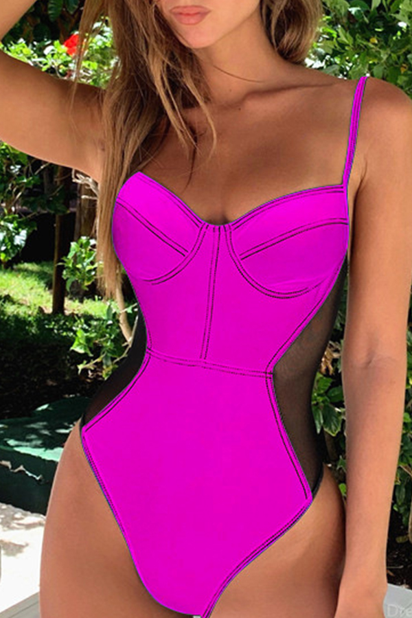 Lovely Spaghetti Straps Backless Rose Red One-piece Swimwear