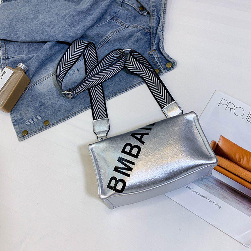 Lovely Stylish Letter Printed Silver PU Crossbody Bag