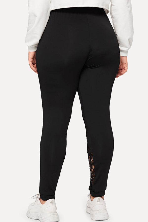 Lovely Casual Lace Patchwork Black Plus Size Leggings
