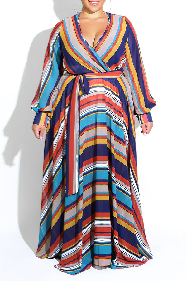 Lovely Bohemian Striped Dark Blue Floor Length Dress