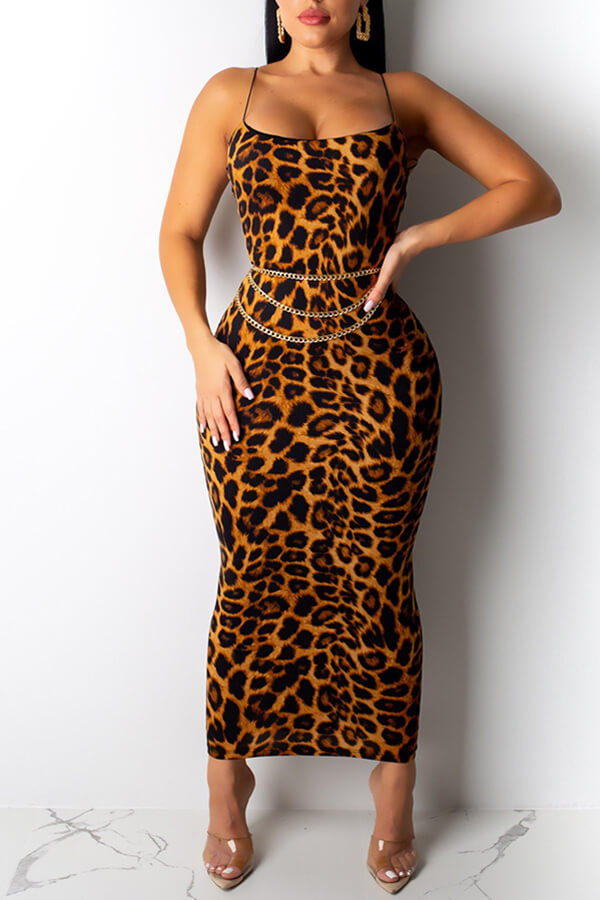 Lovely Sexy Spaghetti Straps Leopard Printed Multicolor Ankle Length Dress(Without Accessories)