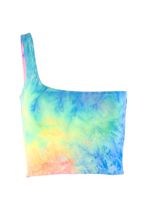 Lovely Sexy One Shoulder Tie-dye Multicolor Tank Top