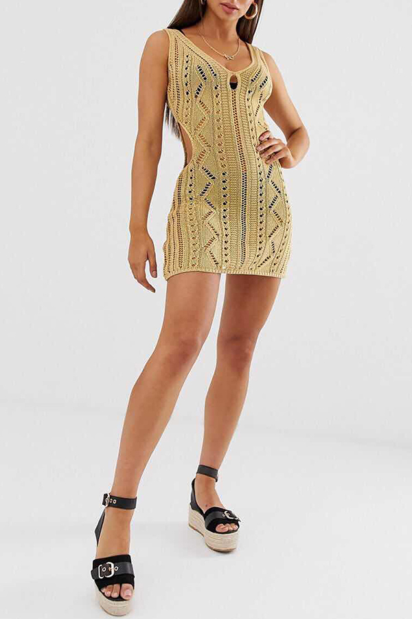 Lovely Sexy V Neck Hollow-out Yellow Mini Dress