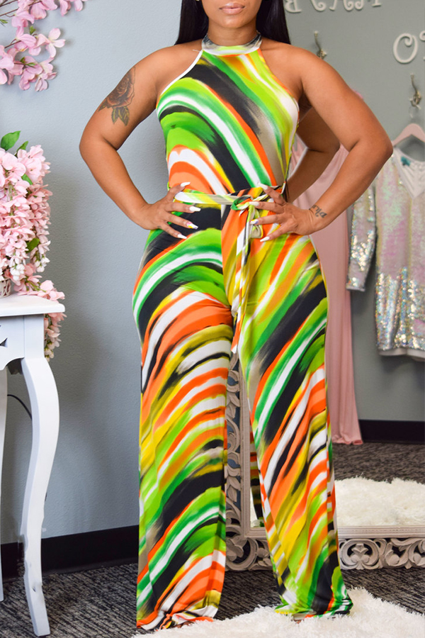 Lovely Leisure Print Green One-piece Jumpsuit фото