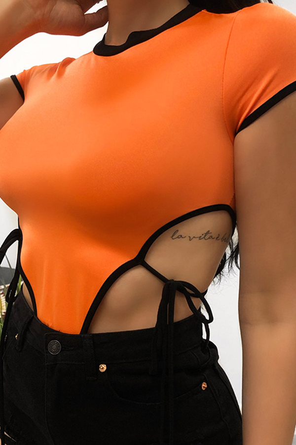 Lovely Sexy Hollow-out Orange Bodysuit
