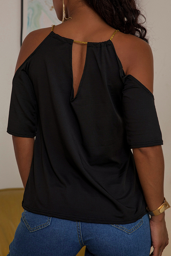 Lovely Sexy O Neck Hollow-out Black Blouse