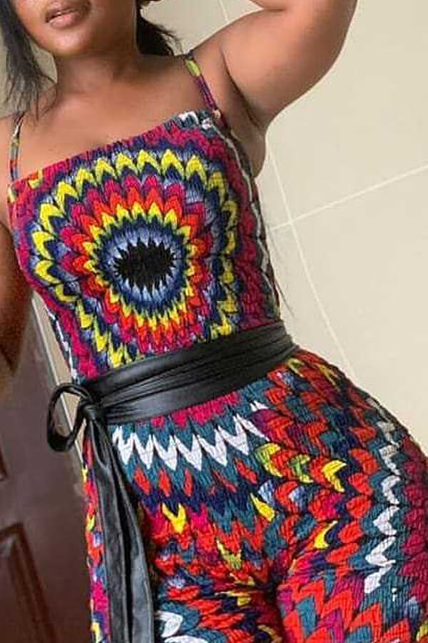 Lovely Casual Printed Lace-up Multicolor One-piece Romper(Without Belt)