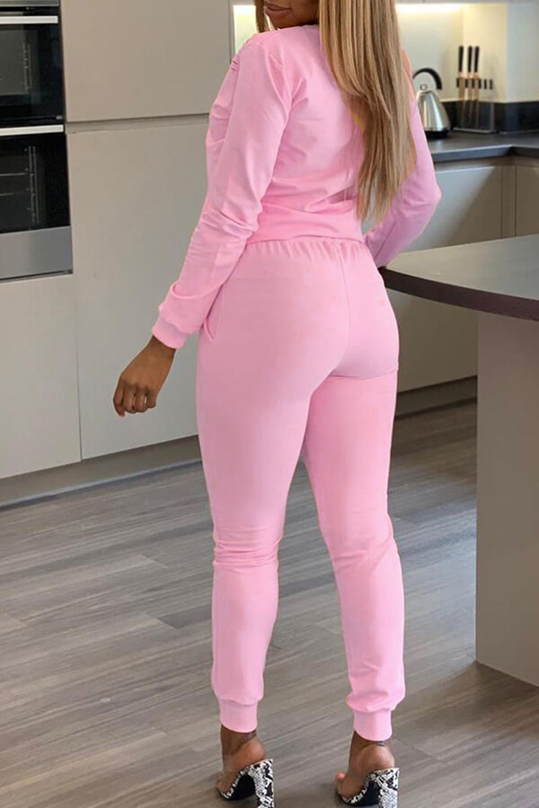 Lovely Casual O Neck Lip Printed Hollow-out Light Pink Two-piece Pants Set