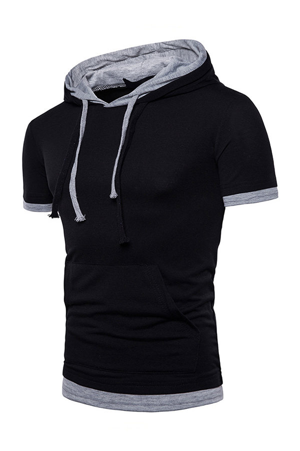 Lovely Casual Hooded Collar Black T-shirt