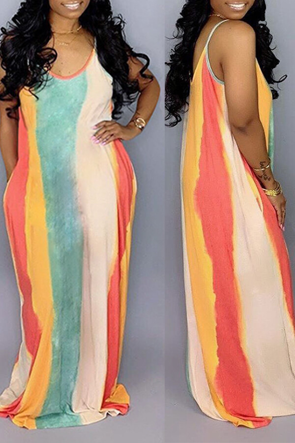 Lovely Casual U Neck Striped Multicolor Floor Length Dress (Without Belt And Batch Print)