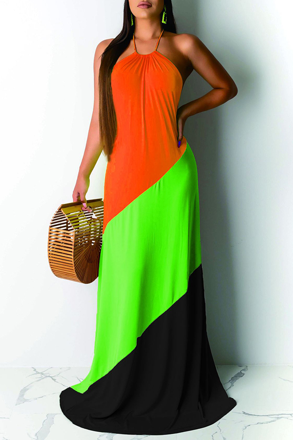 Lovely Casual Off The Shoulder Patchwork Croci Floor Length Dress
