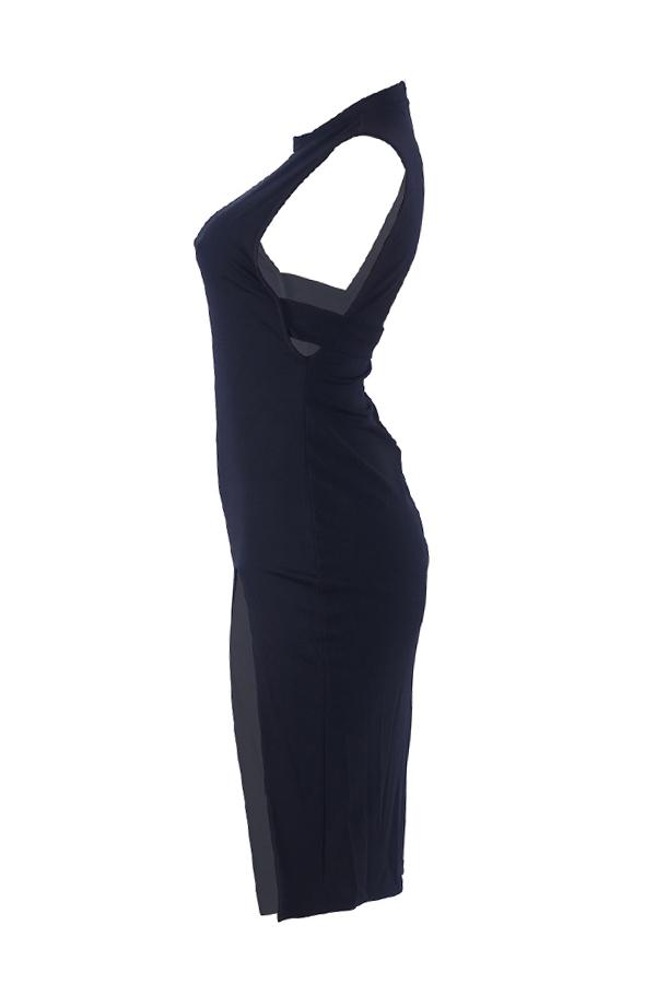 Lovely Chic Sleeveless High Slit Black Knee Length Dress