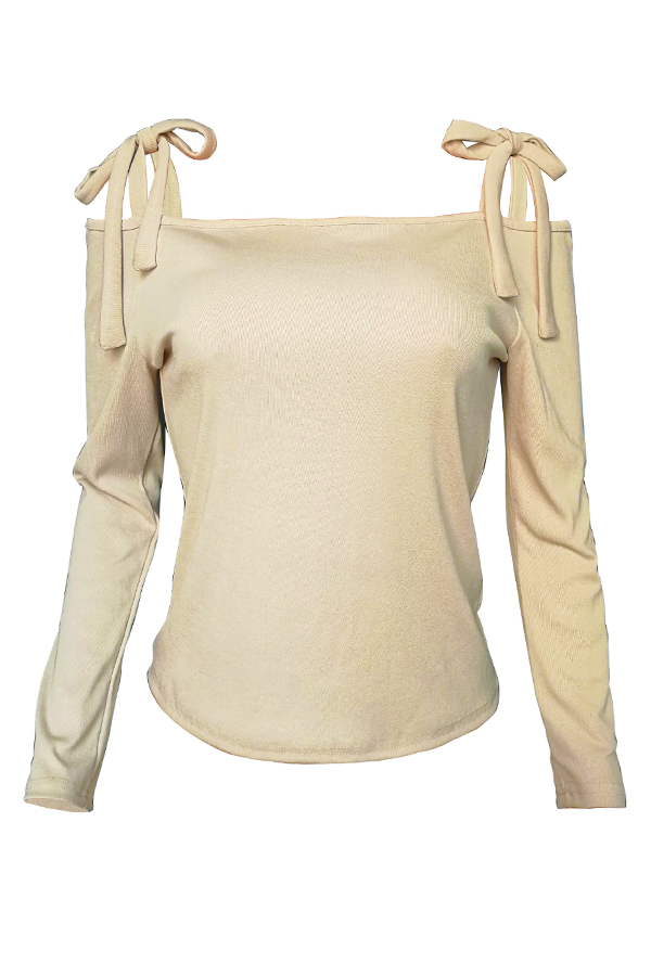 Lovely Casual Bandage Design Apricot Sweaters