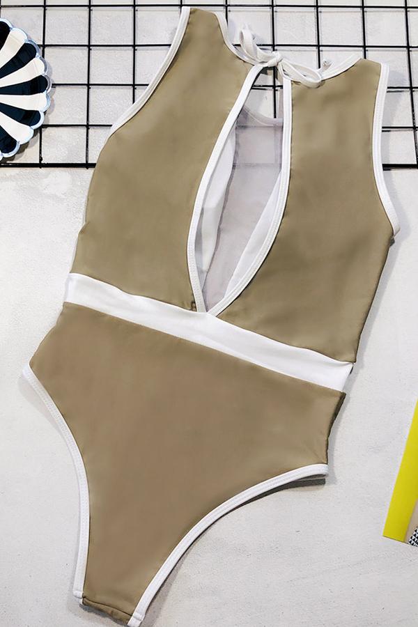 Lovely  Patchwork Khaki One-piece Swimwear