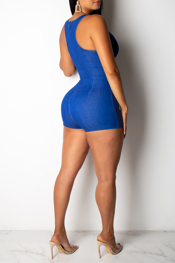 Lovely Sexy Hollow-out Blue One-piece Romper