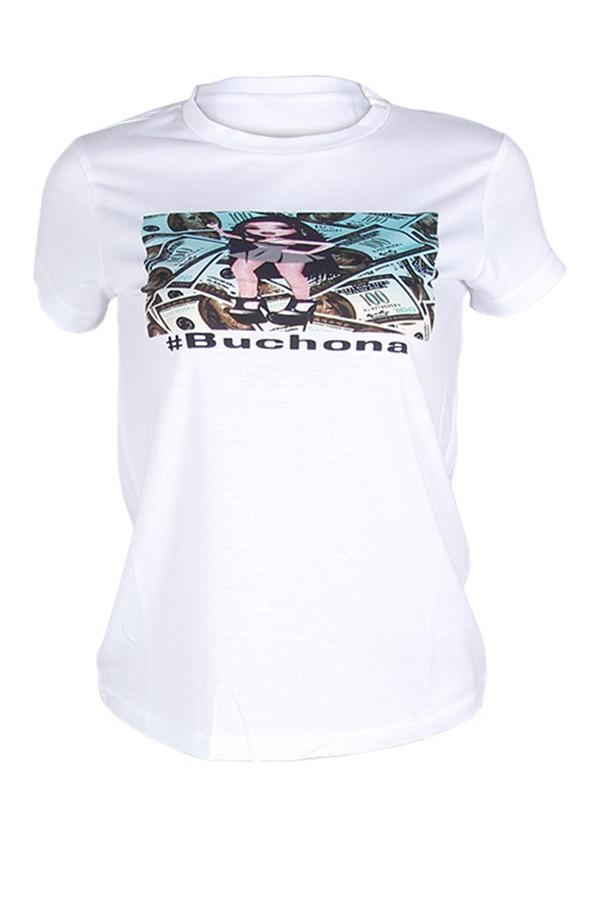 Lovely Trendy O Neck Printed White T-shirt