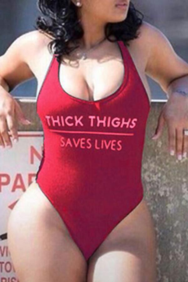 Lovely Trendy U Neck Letter Printed Wine Red Nylon One-piece Swimwear
