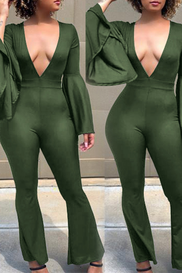 Lovely Sexy Deep V Neck Green  One-piece Jumpsuit