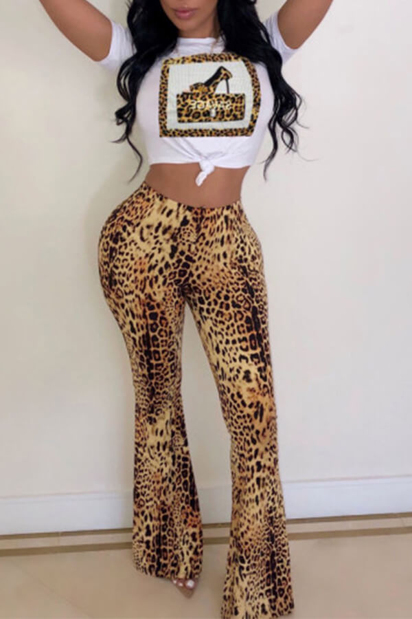 Lovely Casual Leopard Printed White Two-piece Pants Set