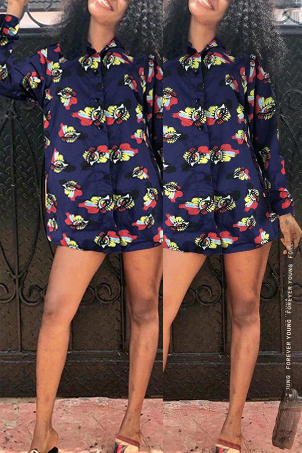 Lovely Trendy Turndown Collar Printed Blue Mini Dress