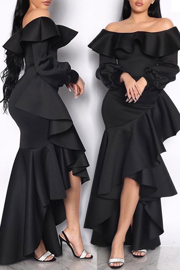 Lovely Sweet Off The Shoulder Flounce Design Black Ankle Length Dress