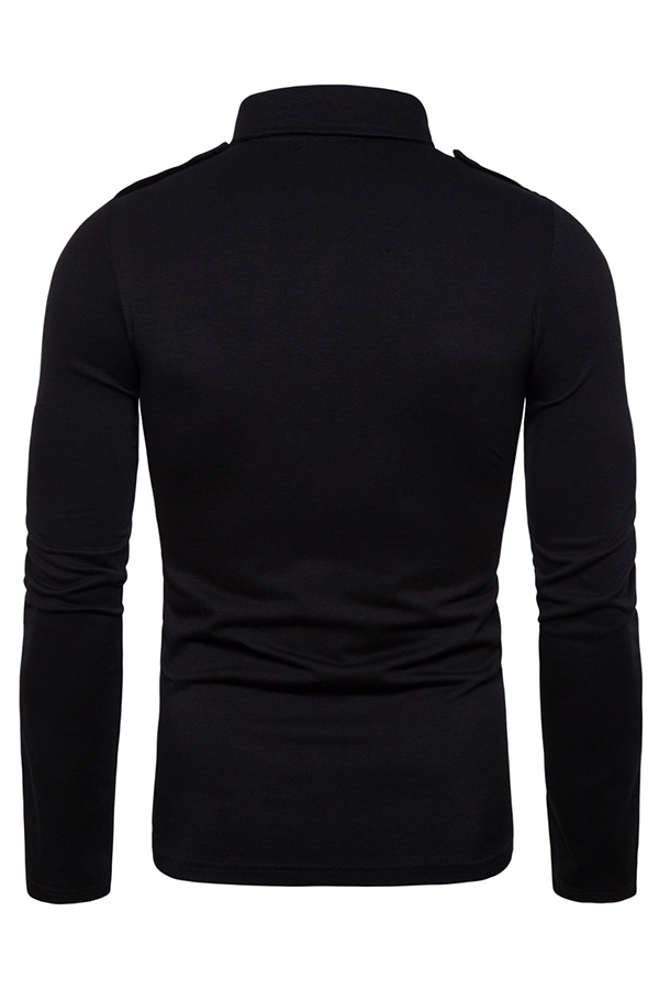 Lovely Trendy Pocket Patched Black Polo Shirt